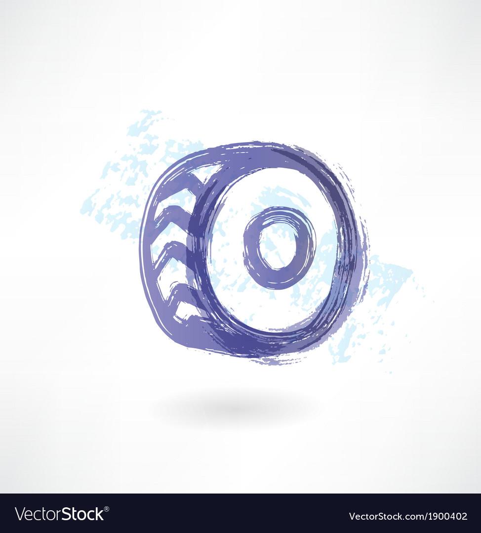 Car wheel grunge icon vector image