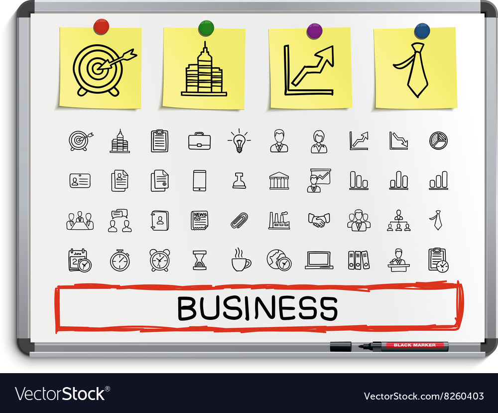 Business hand drawing line icons vector image