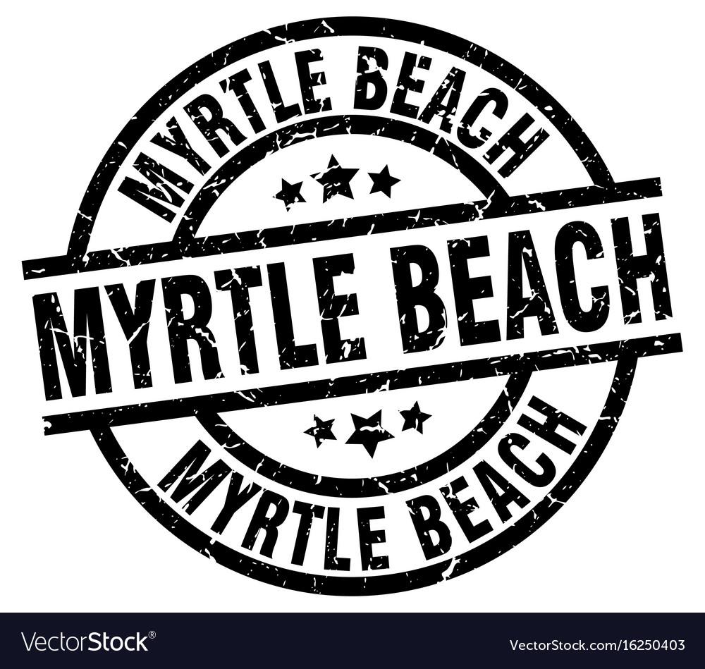 Myrtle Beach Black Round Grunge Stamp Vector Image