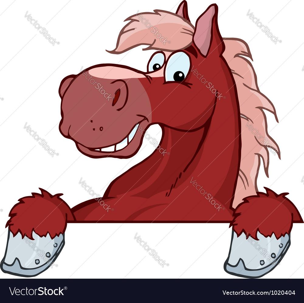 Red Horse Mascot Cartoon Head vector image