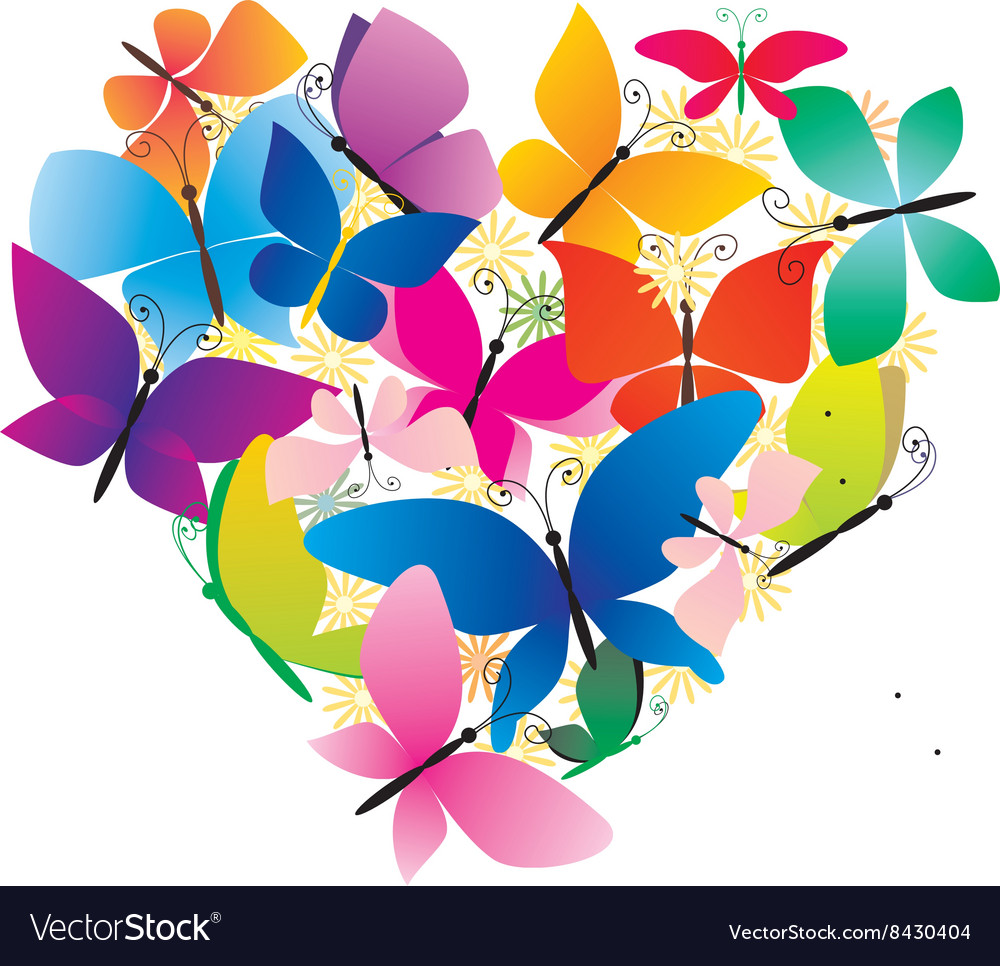 Butterflies colorful heart vector image
