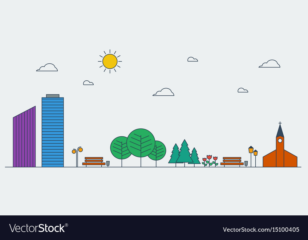 Line graphic concept of urban landscape vector image