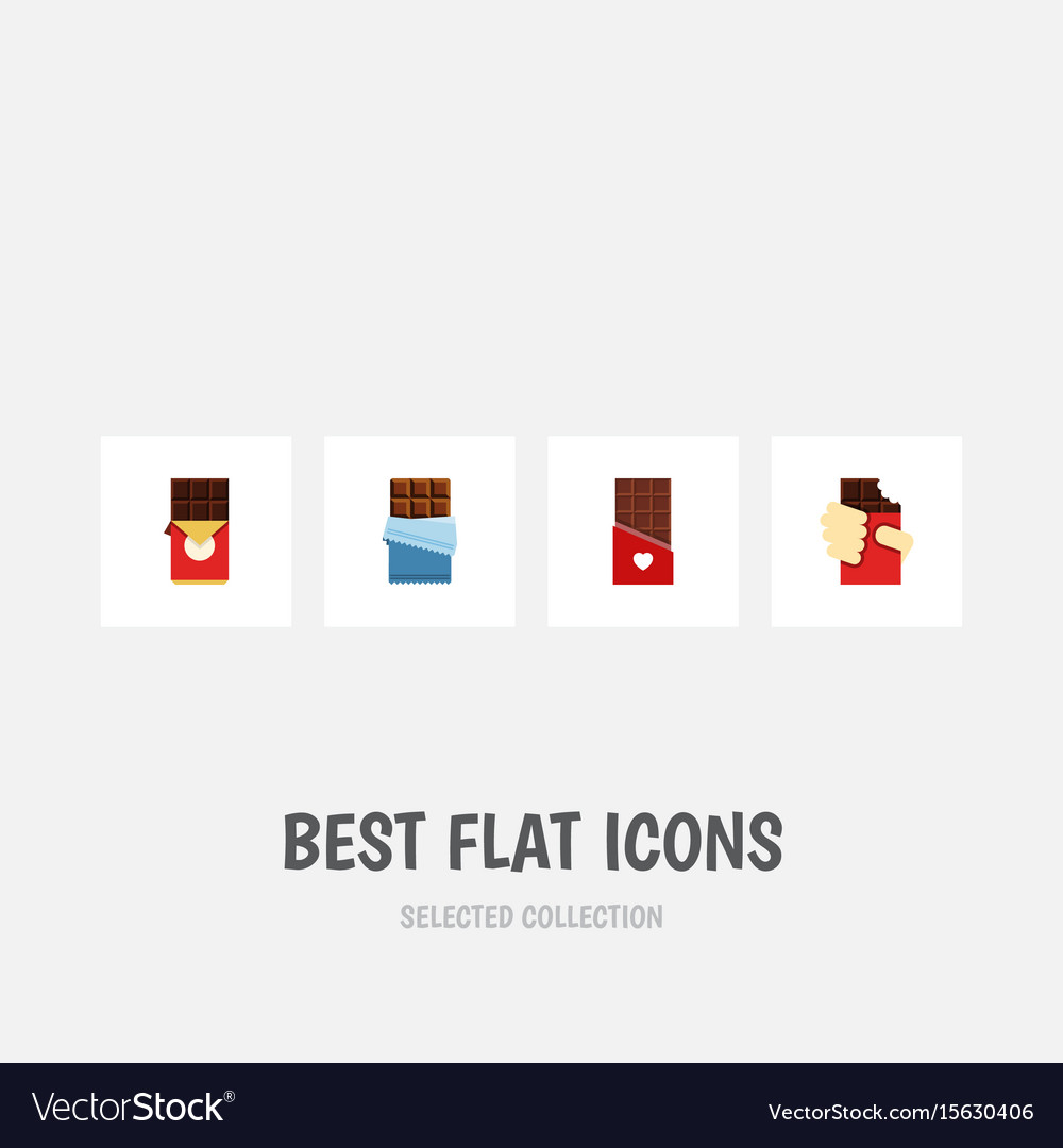 Flat icon bitter set of chocolate bar shaped box vector image
