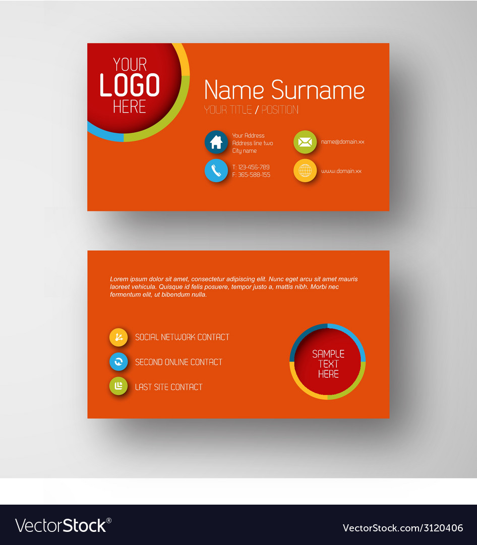 Modern red business card template with flat user vector image accmission Choice Image