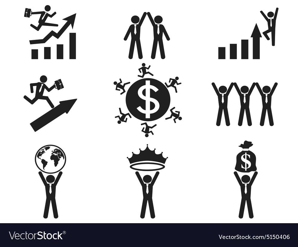 Successful businessman pictogram icons set vector image