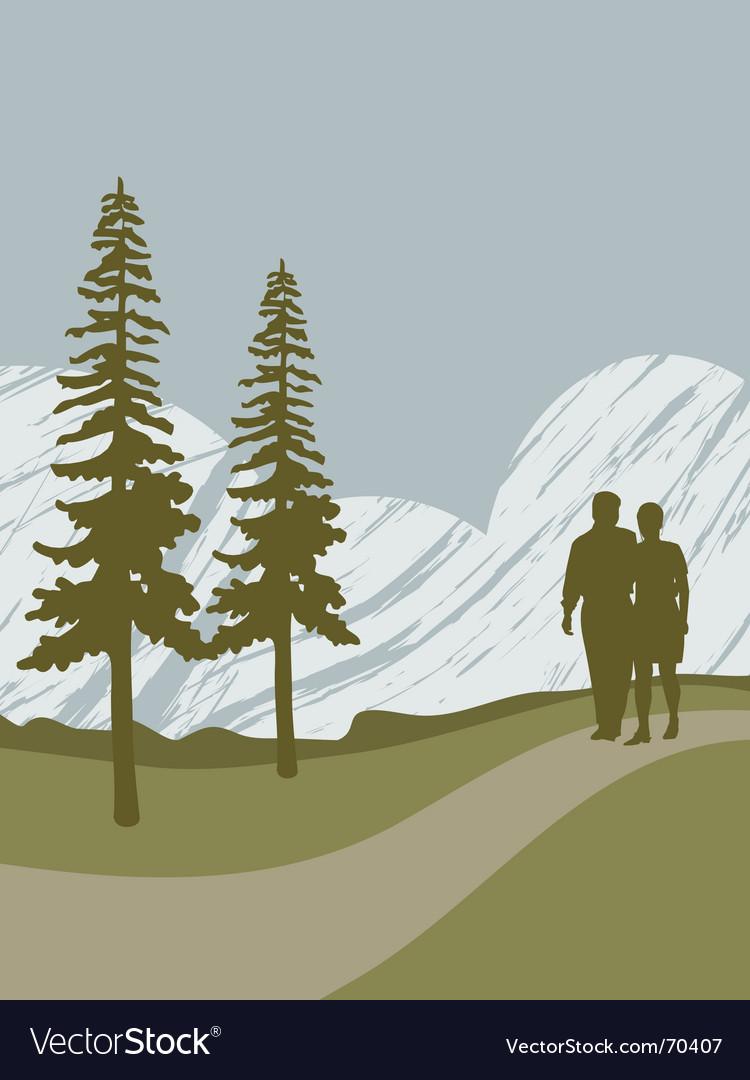 Couple walking vector image