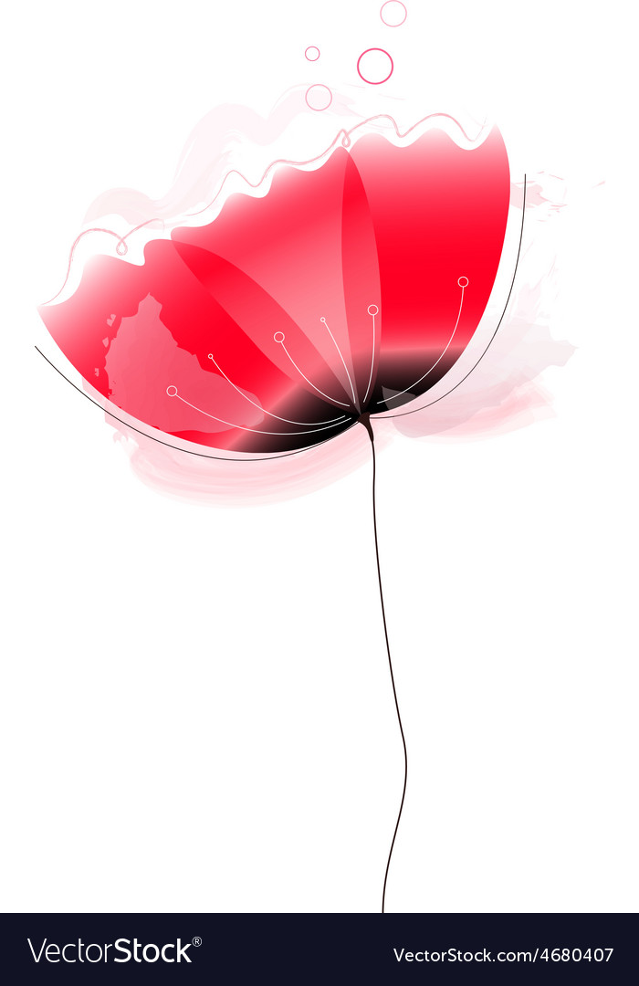 Cute beautiful abstract Poppy flower vector image