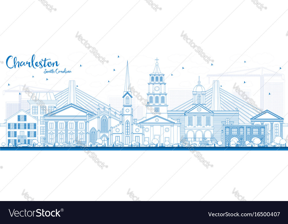 Outline charleston south carolina skyline with vector image