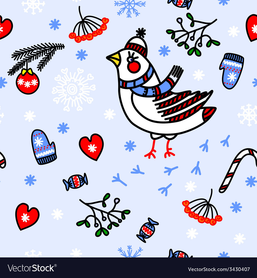 Winter seamless blue background with birds vector image