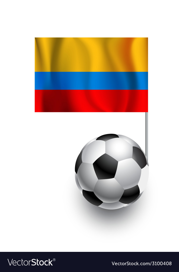 Soccer Balls or Footballs with flag of Columbia vector image