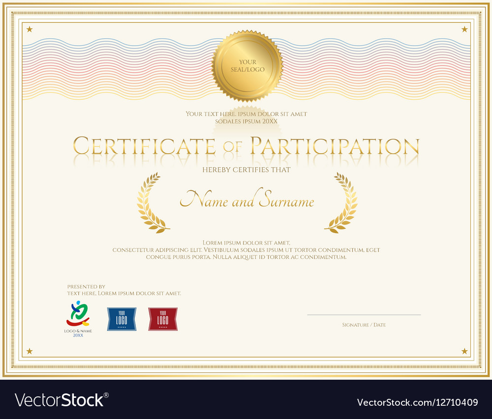 Certificate of participation template royalty free vector certificate of participation template vector image xflitez Choice Image