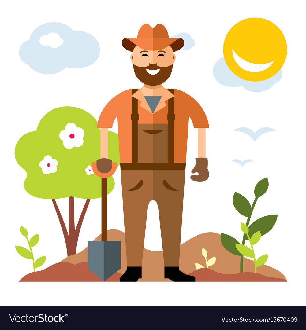 Gardening man with shovel flat style vector image