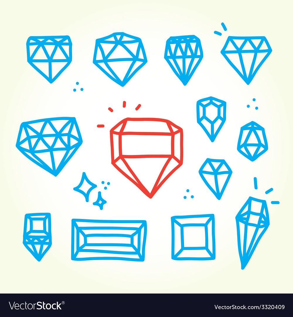 Hand drawn diamonds vector image