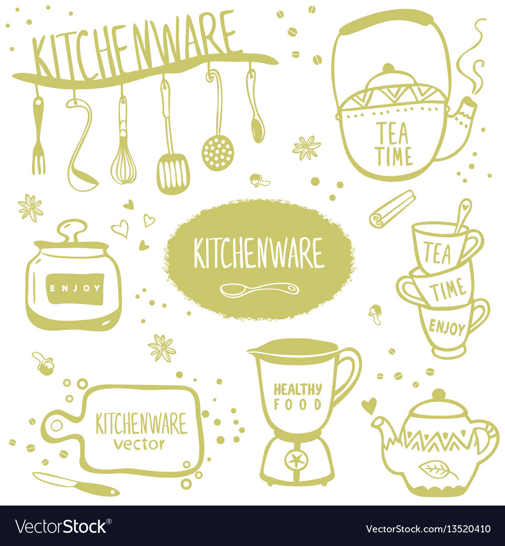 Set kitchenware vector image