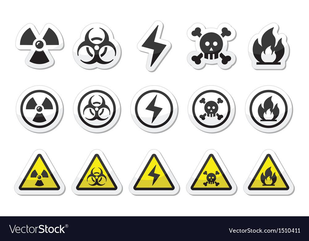 Danger risk warning icons set vector image