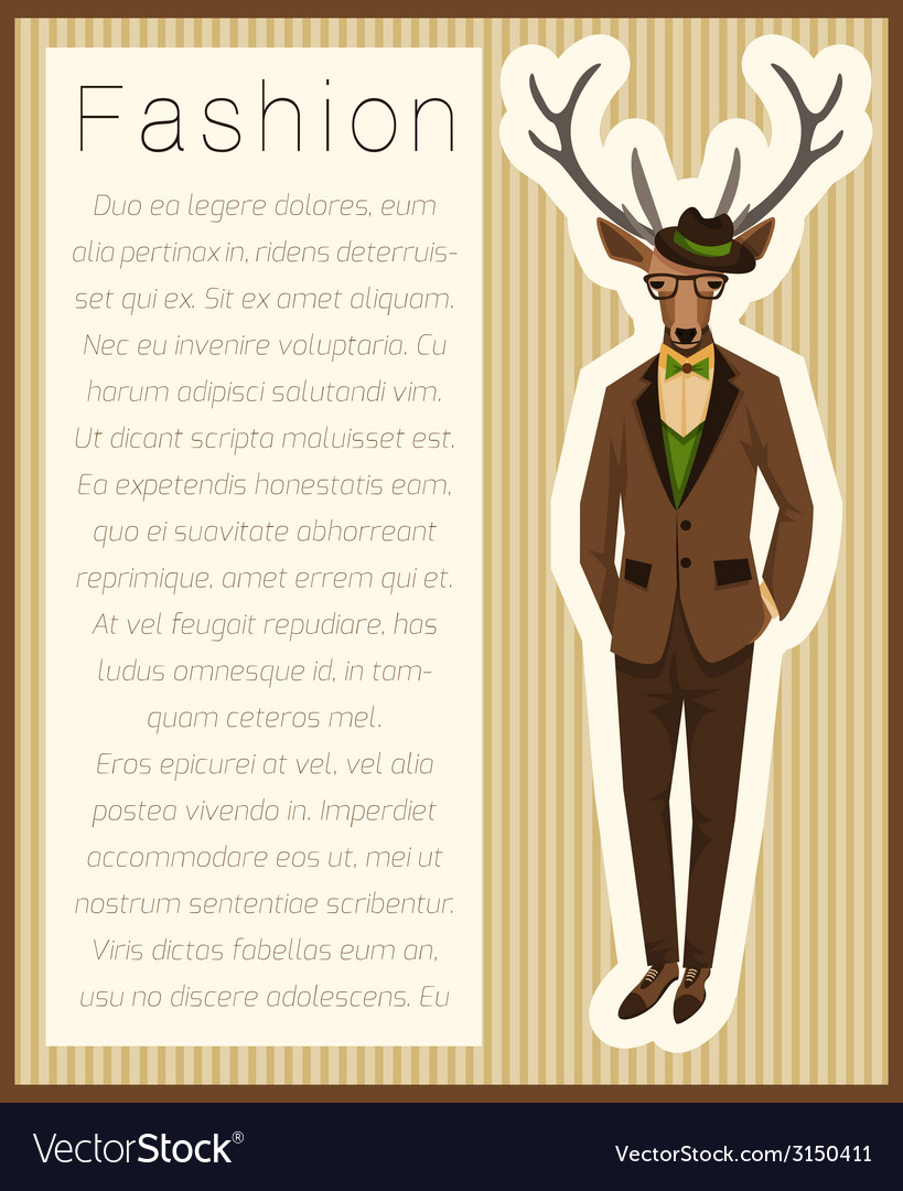 Fashion dressed up deer vector image