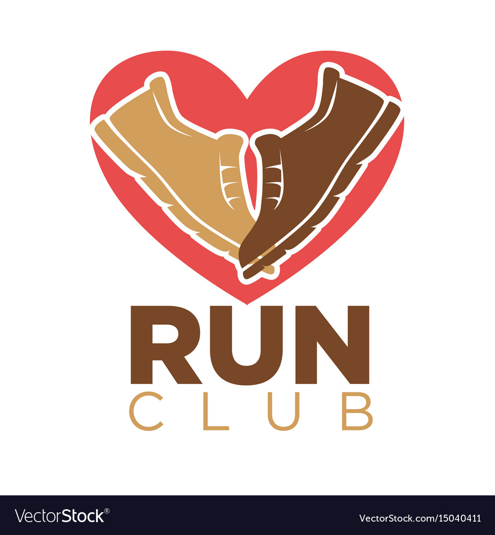 Run club heart and sport sneakers shoes vector image