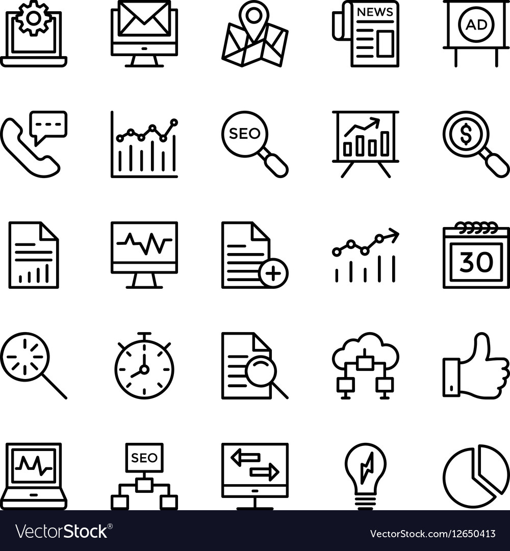 Digital Marketing Icons 5 vector image