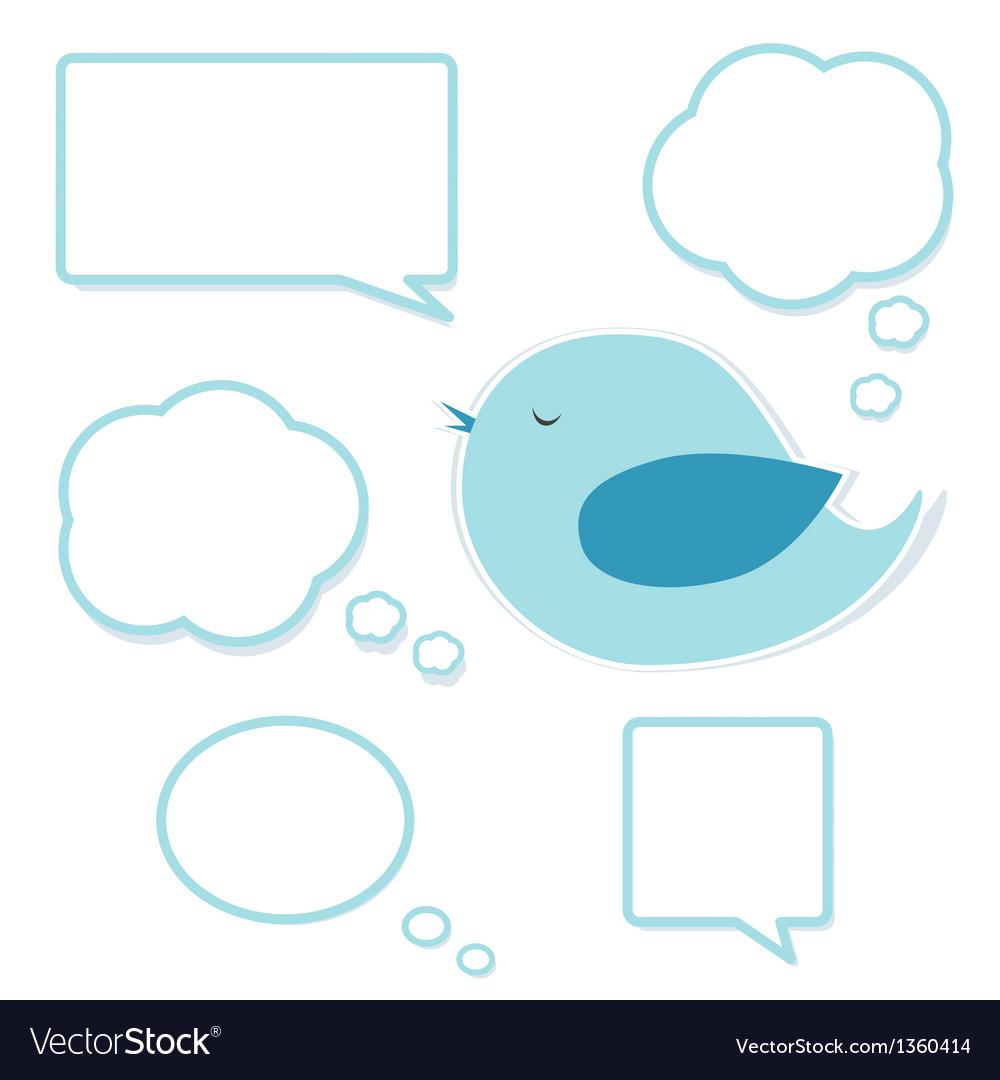 Blue bird and set of speech bubbles vector image
