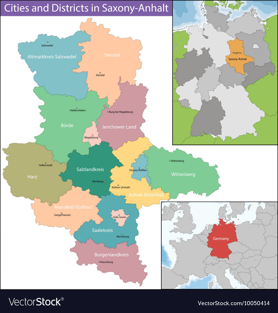 Map of SaxonyAnhalt Royalty Free Vector Image