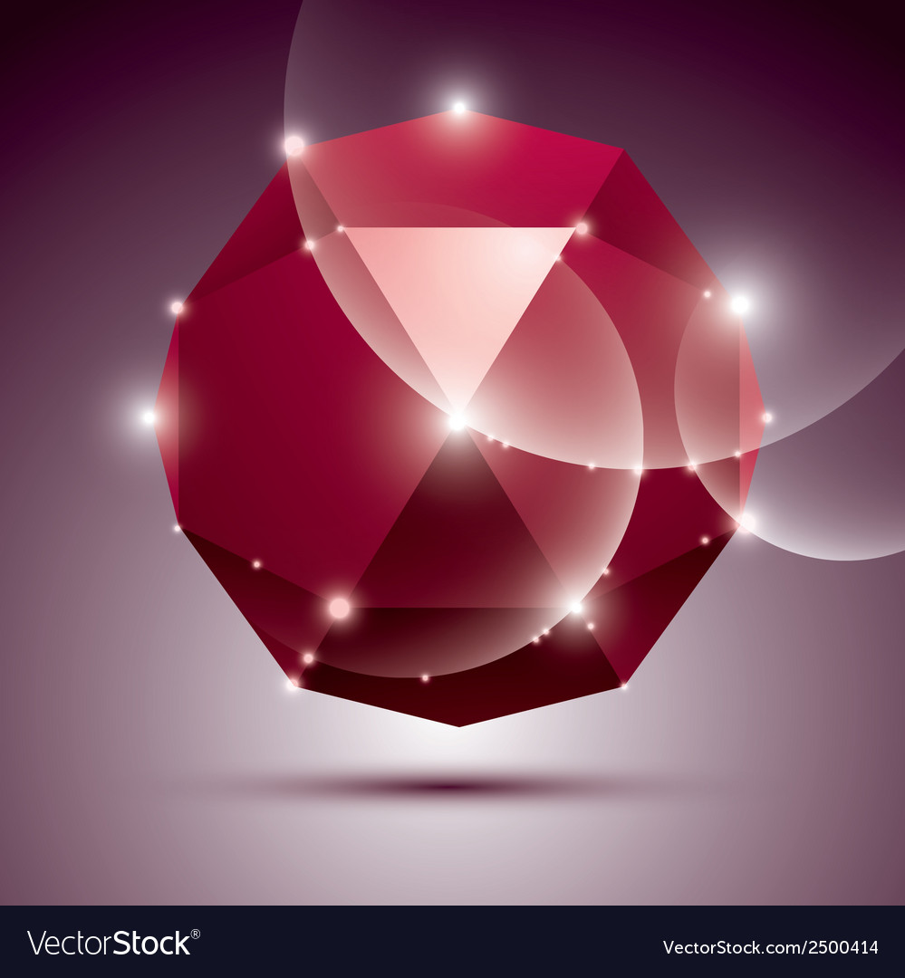 Party 3D red shiny disco ball fractal dazzling vector image