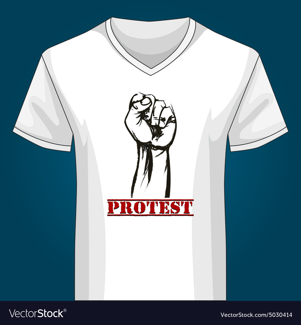 V neck Shirt Template with Protest Fist vector image