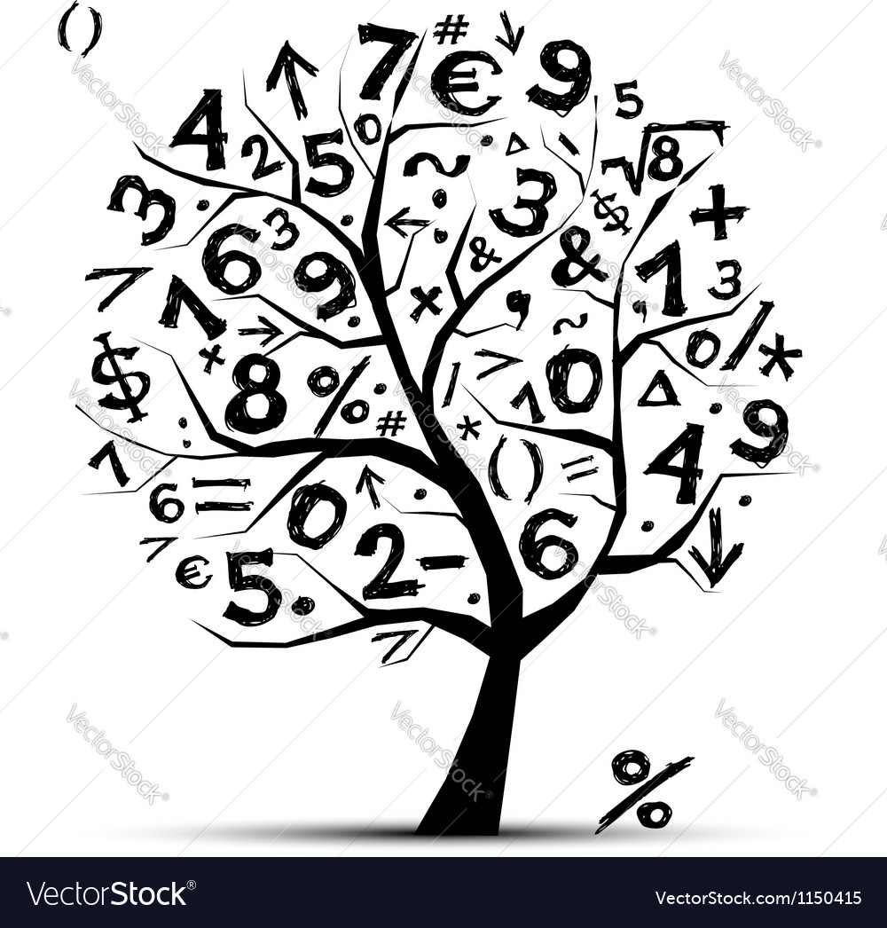 Art tree with math symbols for your design vector image