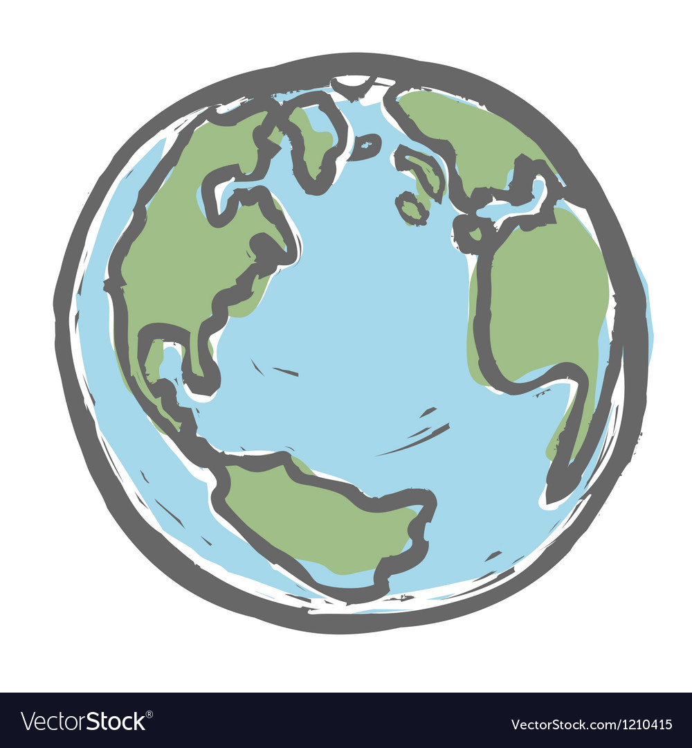 Hand drawn earth EPS8 vector image