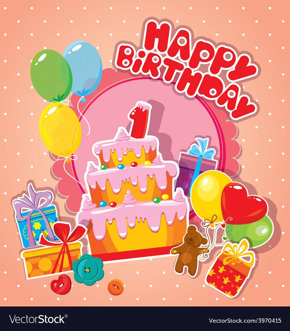 Happy birthday 1year 380 vector image