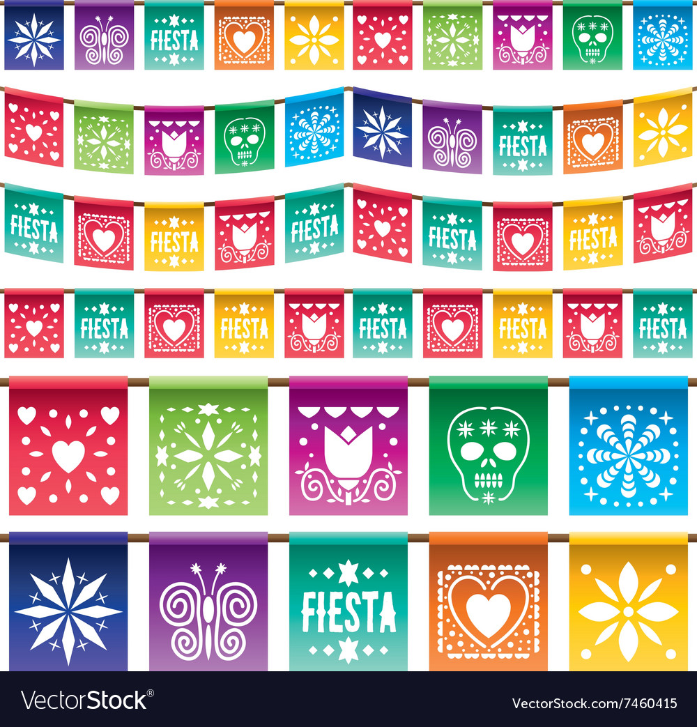 Mexican paper bunting vector image