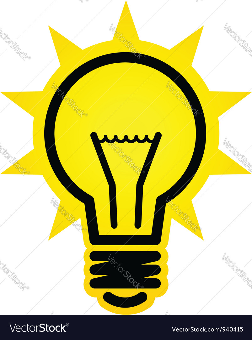 Shining light bulb icon vector image