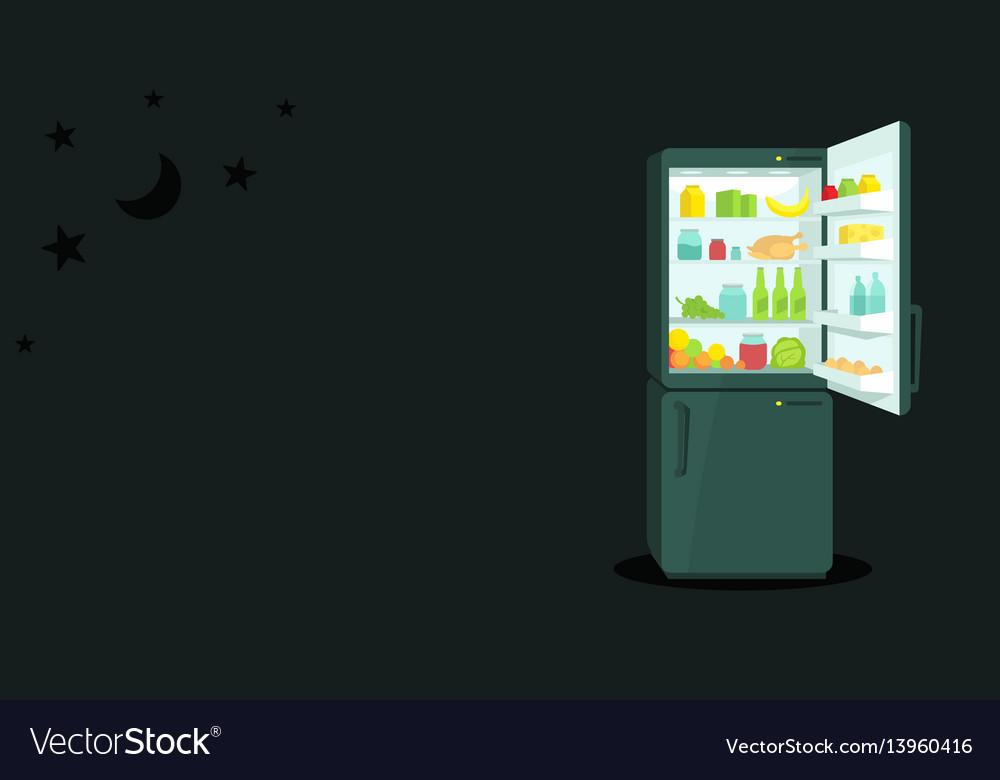 Night food refrigerator with an open door vector image