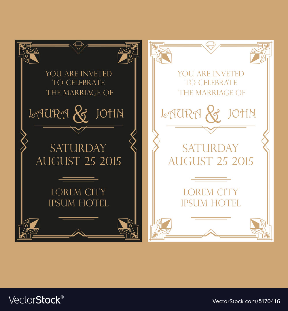 wedding invitation card art deco vintage style vector image - Vintage Style Wedding Invitations