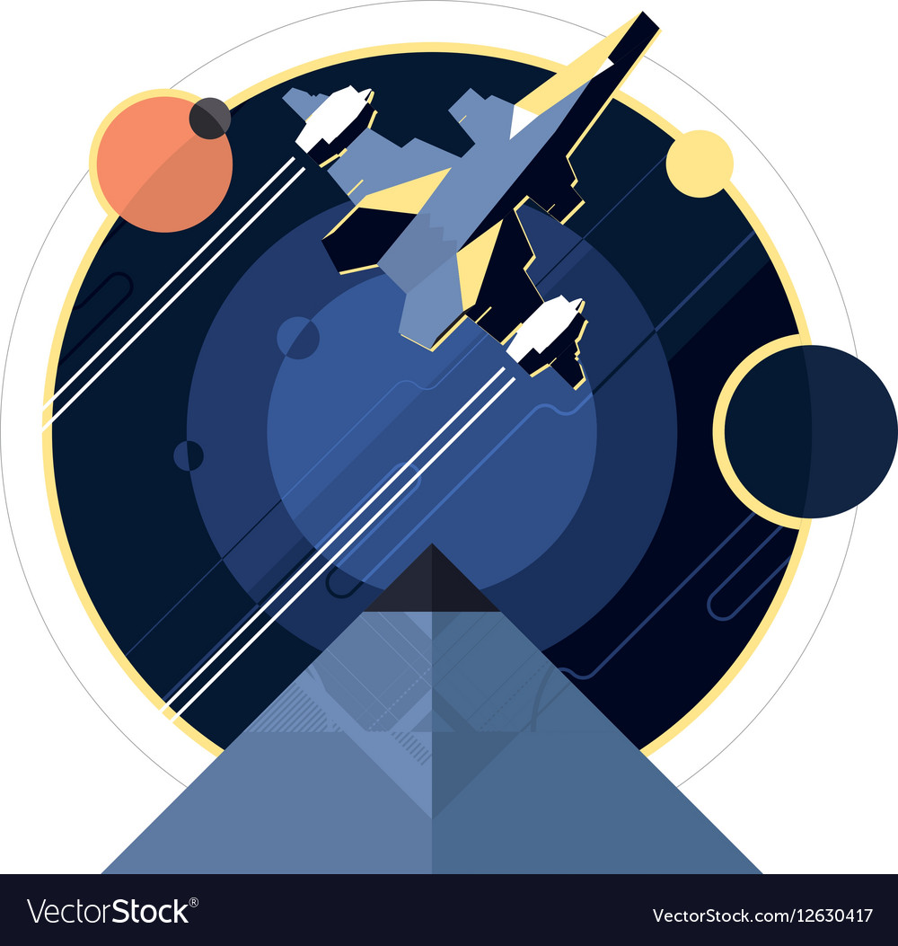 Spacecraft spaceship in space vector image