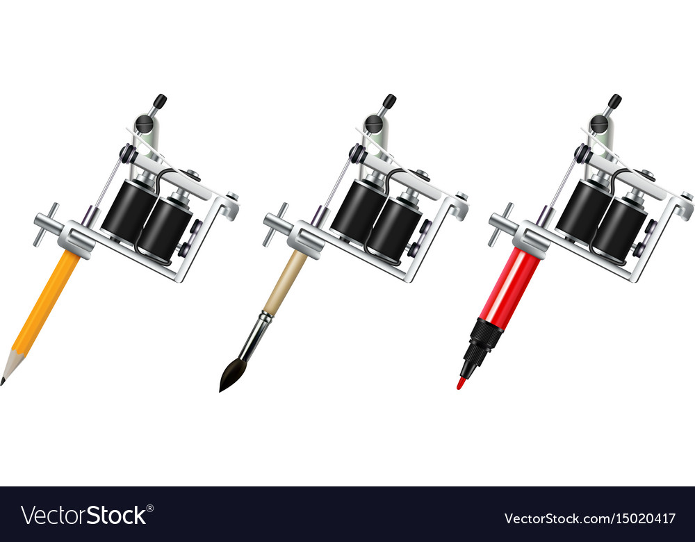 Tattoo machine drawing set royalty free vector image for How to set up a tattoo machine
