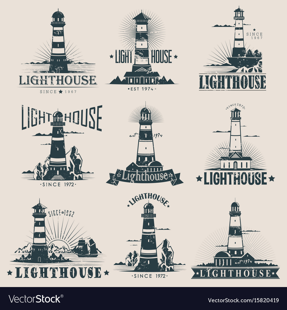 Isolated lighthouse on sea or ocean sketches vector image