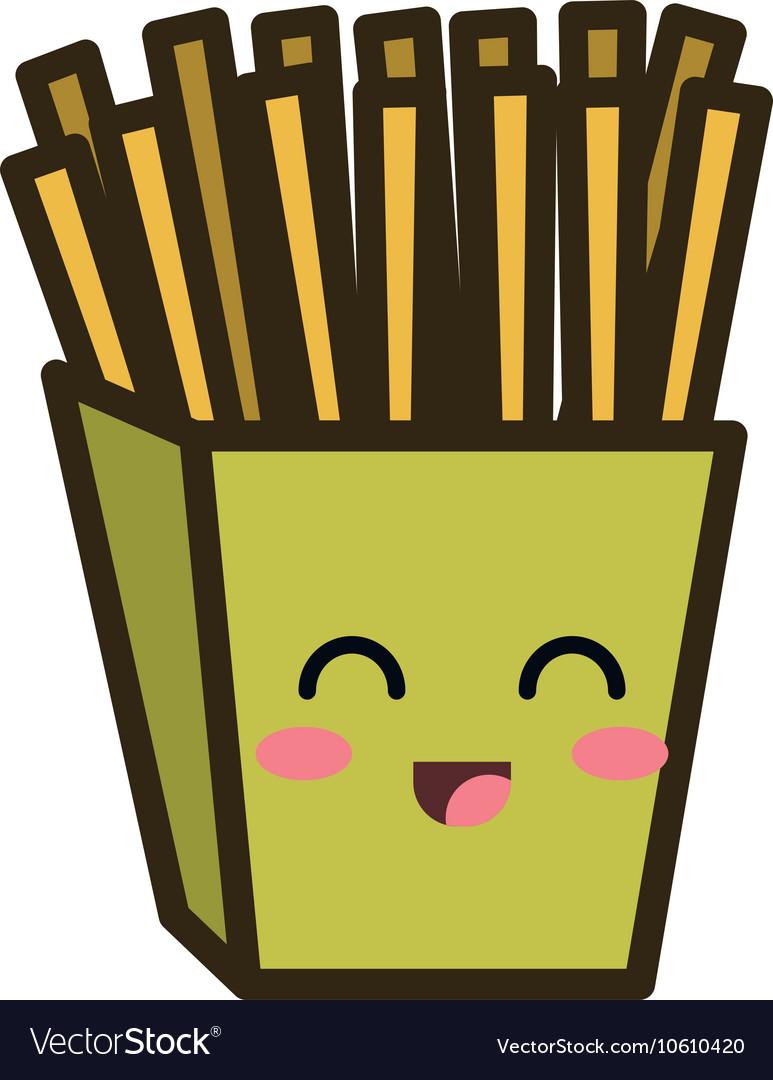 Kawaii cartoon french fries vector image