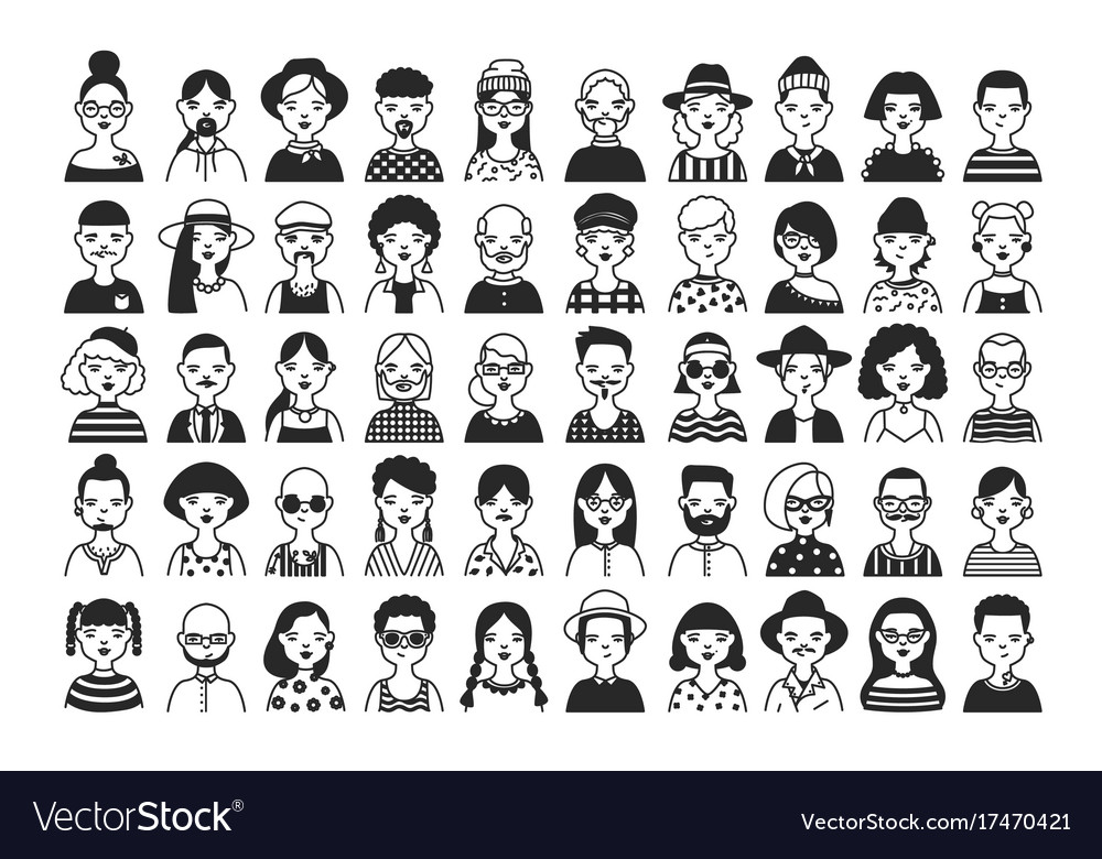 Large collection of male and female cartoon vector image