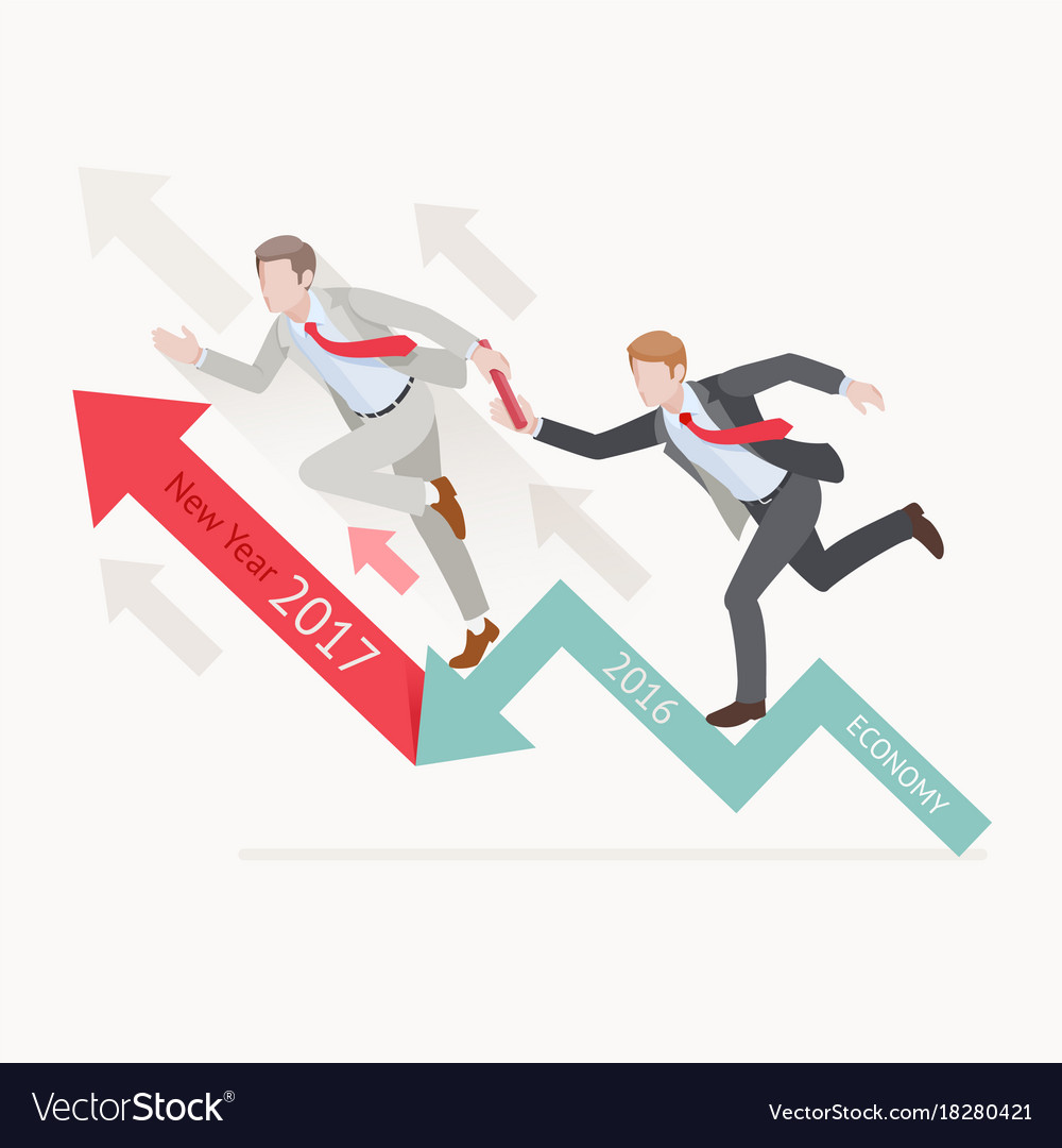 Two businessman running on red arrow vector image