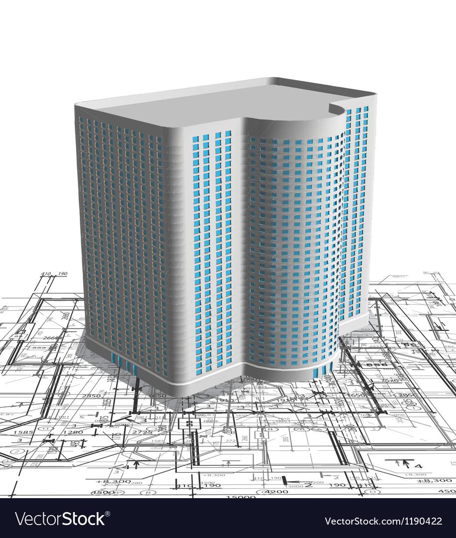 Modern white building on blueprint Vector Image