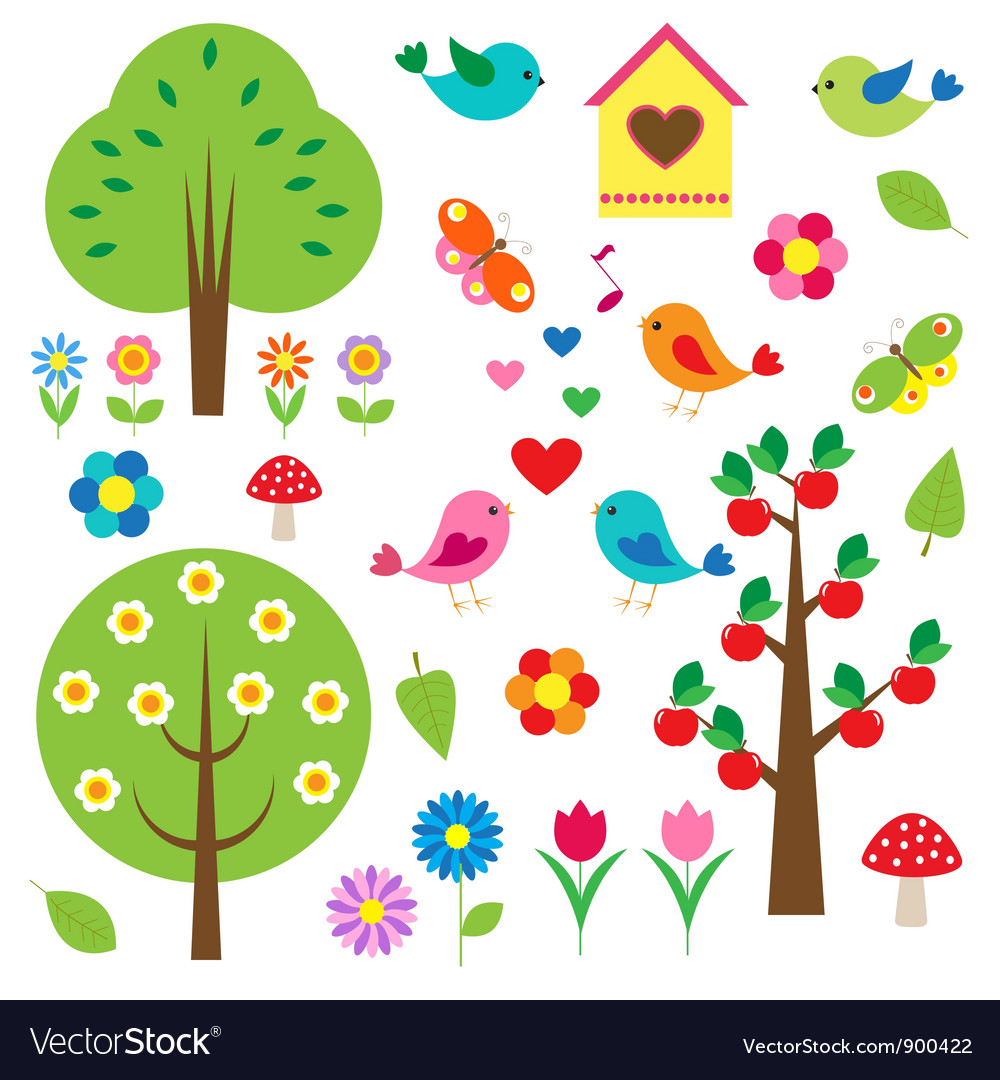 Birds and trees set vector image
