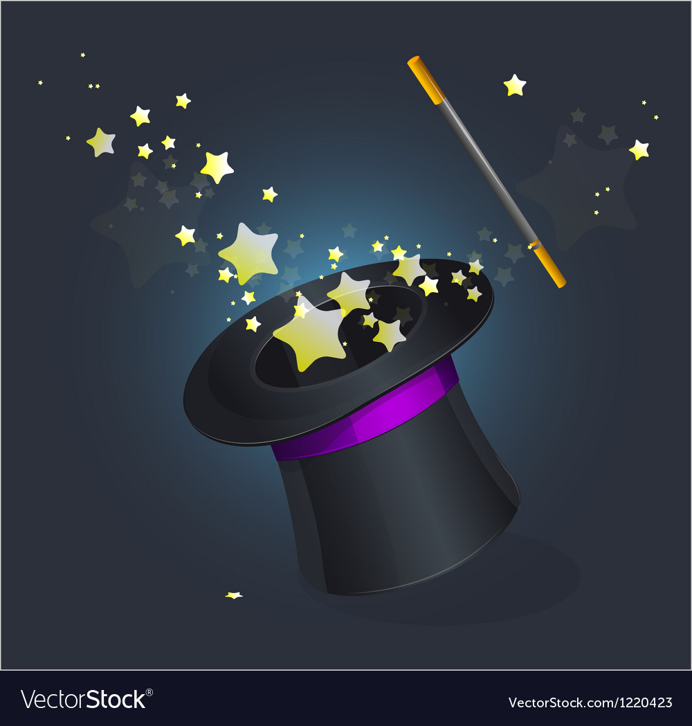 Magic hat on black vector image