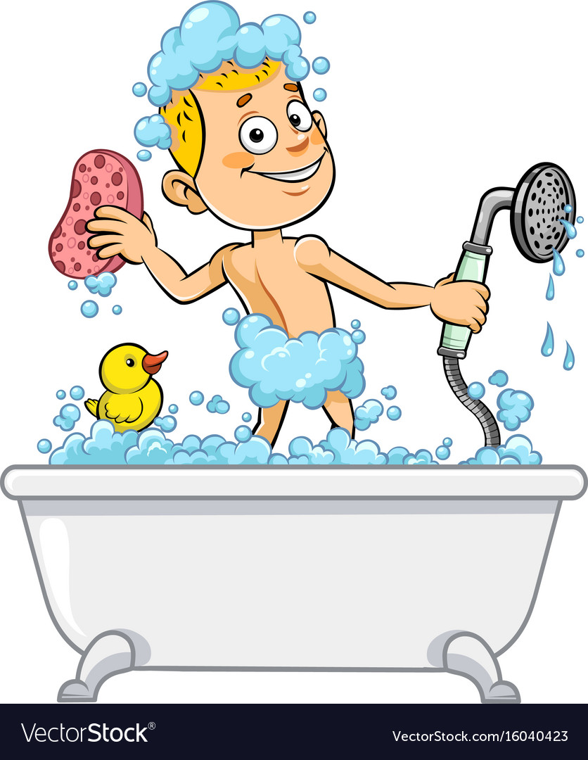 Boy having bath vector image