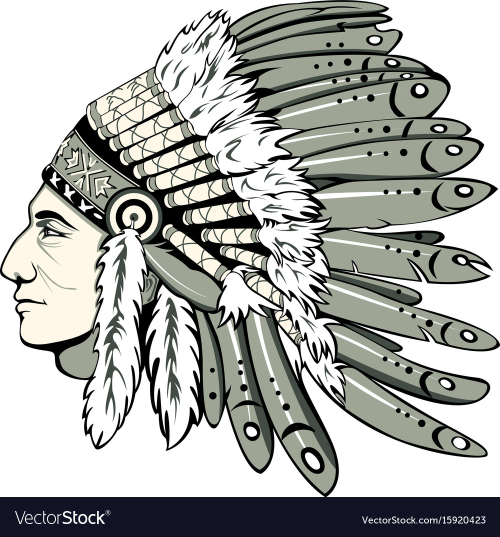 Chief with indian headdress vector image