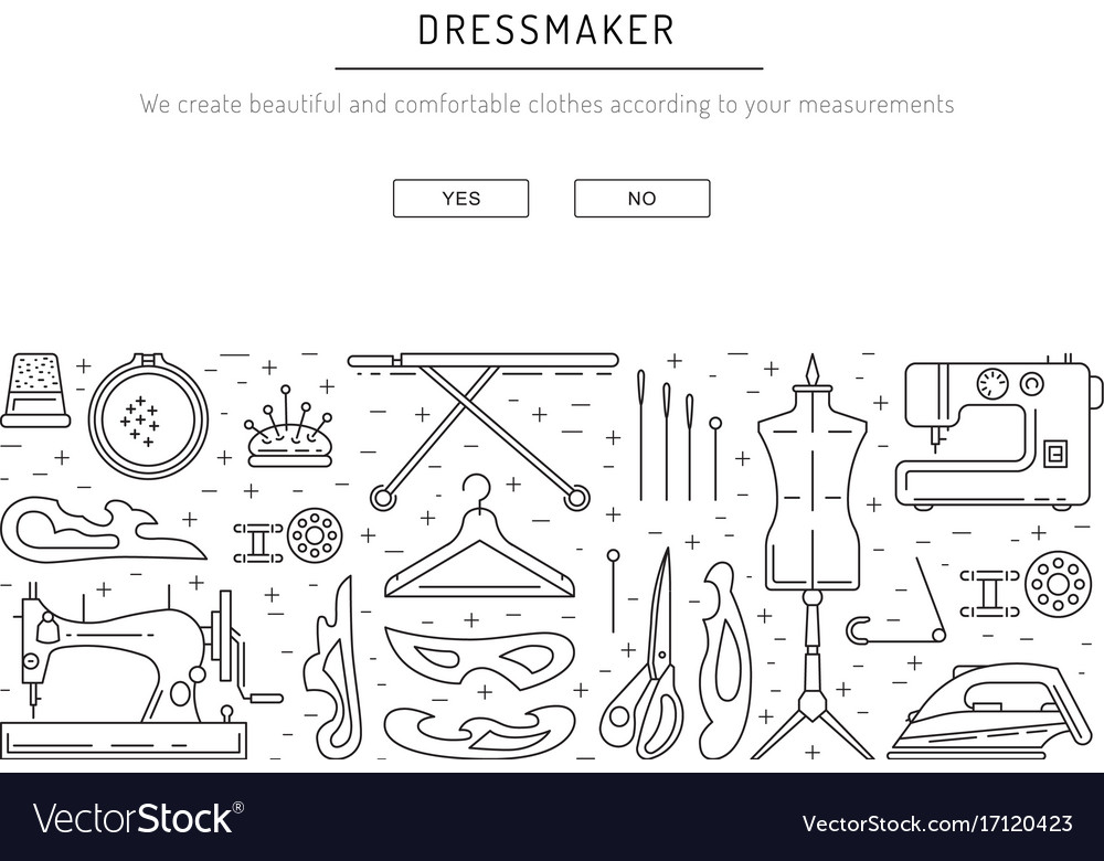 Sewing template outline Royalty Free Vector Image
