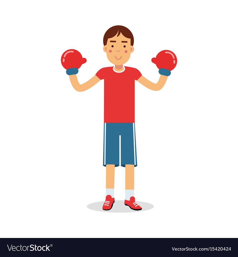 Active boy teen boxer in boxing gloves cartoon vector image