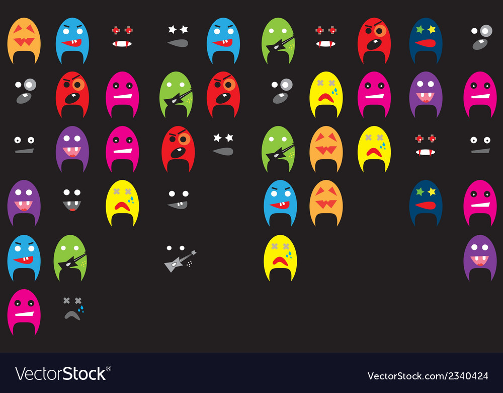 Set of funky mascot vector image