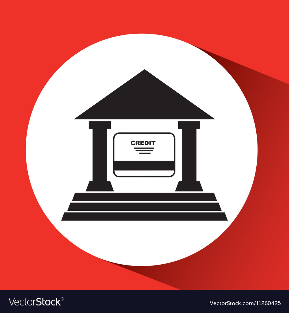 Silhouette bank building credit card pay icon vector image