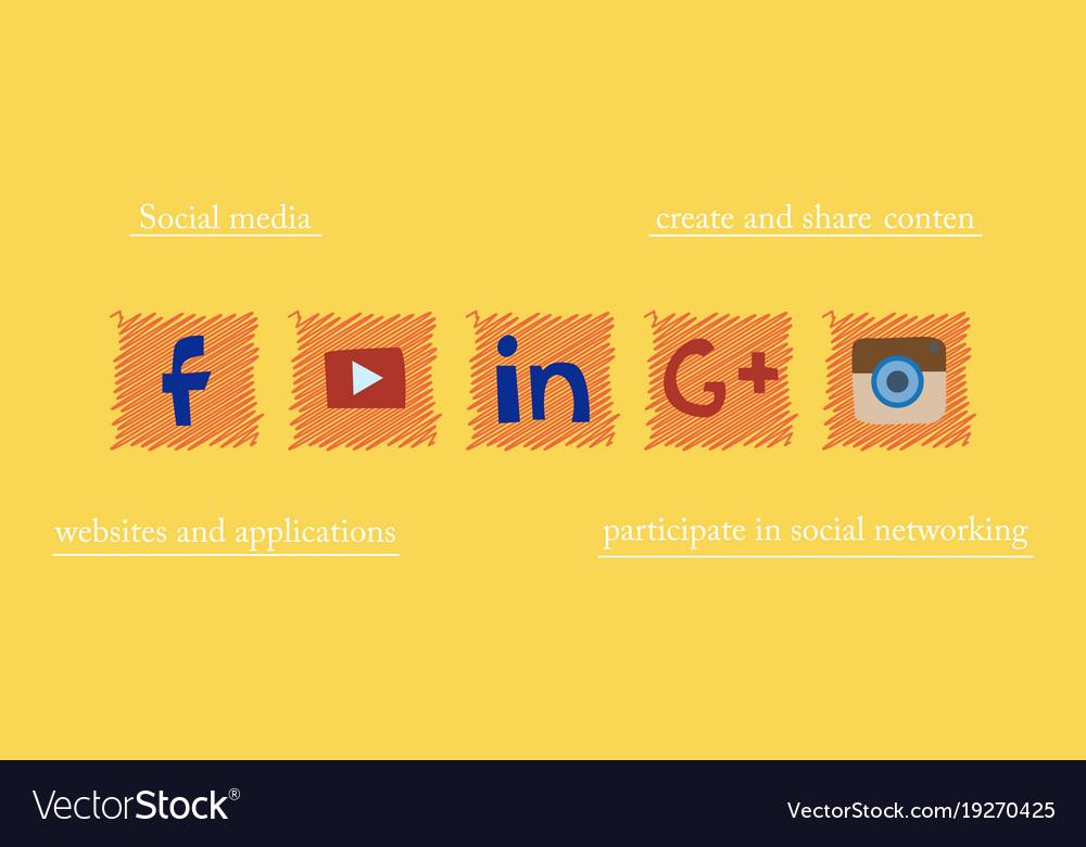 Social Network Symbols In Speech Balloons Vector Image