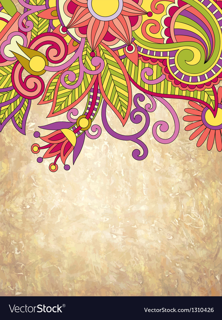 Ornate grunge abstract floral background vector image